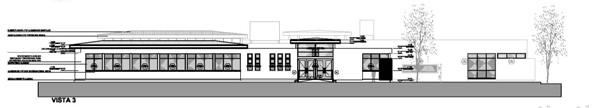 El dibujo del frente del nuevo edificio.