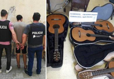 La policía recuperó cuatro guitarras robadas y detuvo al delincuente